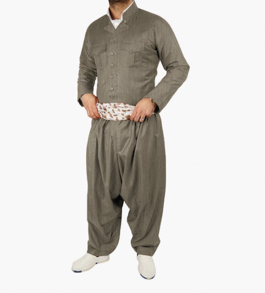 لباس کردی مردانه طرح مهابادی راه راه