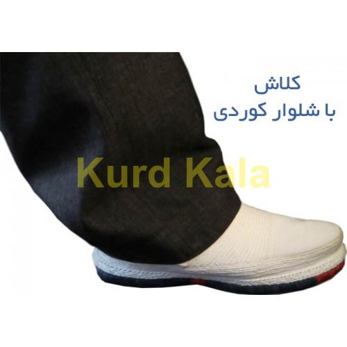 گیوه کلاش کردستان طرح هورامان رنگ سفید
