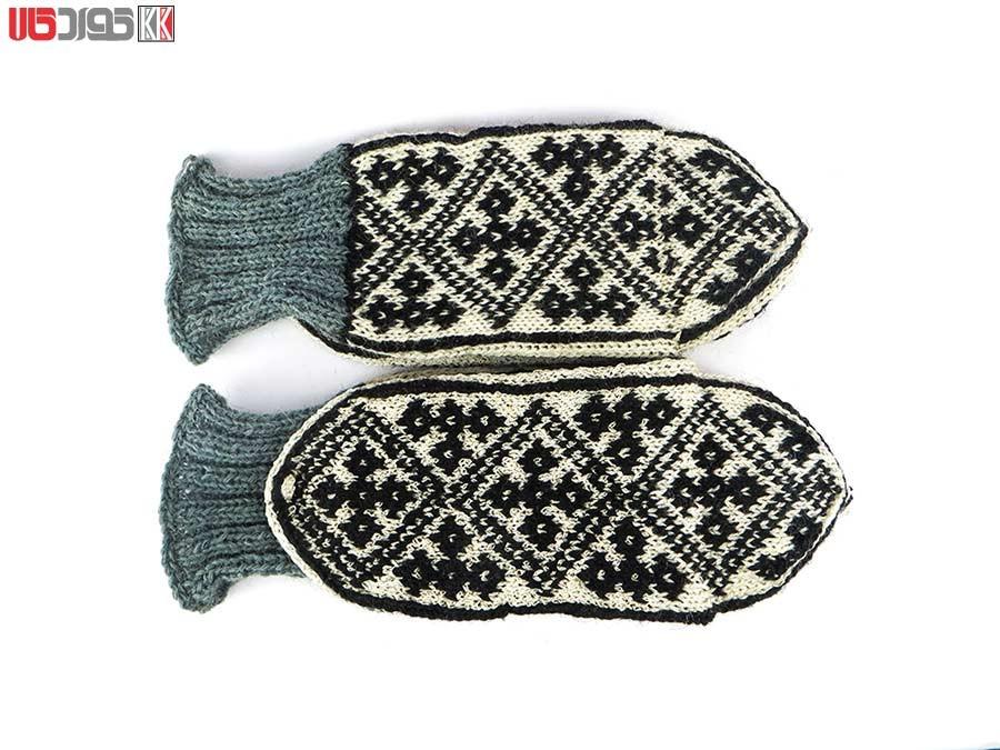 جوراب پشمی مردانه دستبافت سنتی کردستان طرح هندسی