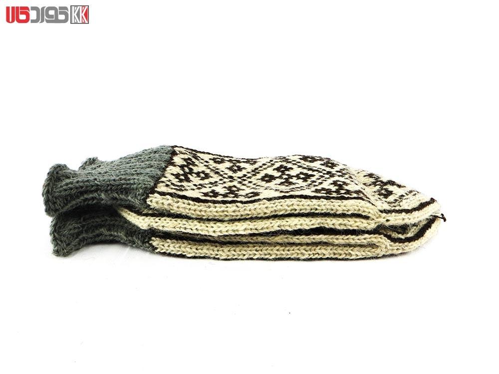 جوراب مردانه سنتی کردستان طرح هندسی رنگ قهوه ای – کرم