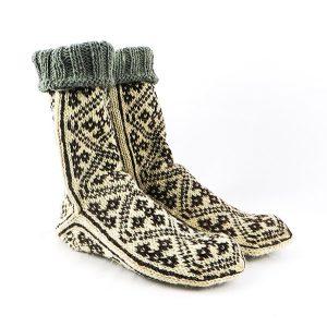 جوراب مردانه سنتی کردستان طرح هندسی رنگ قهوه ای - کرم