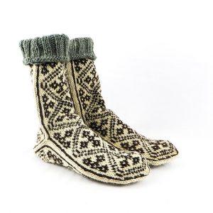جوراب مردانه سنتی کردستان ساق بلند طرح هندسی رنگ قهوه ای – کرم