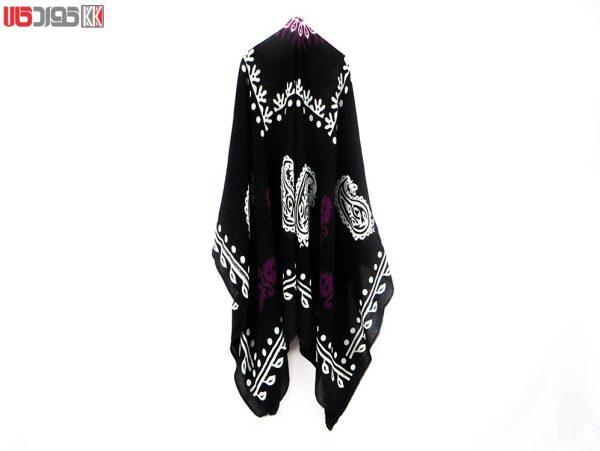 روسری سنتی کردستان طرح ترنج رنگ مشکی- بنفش