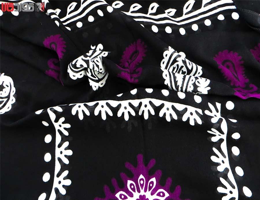 روسری سنتی کردستان طرح ترنج رنگ مشکی