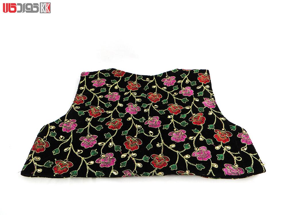 جلیقه زنانه سنتی کردستان طرح گلدوزی رنگ قرمز – بنفش