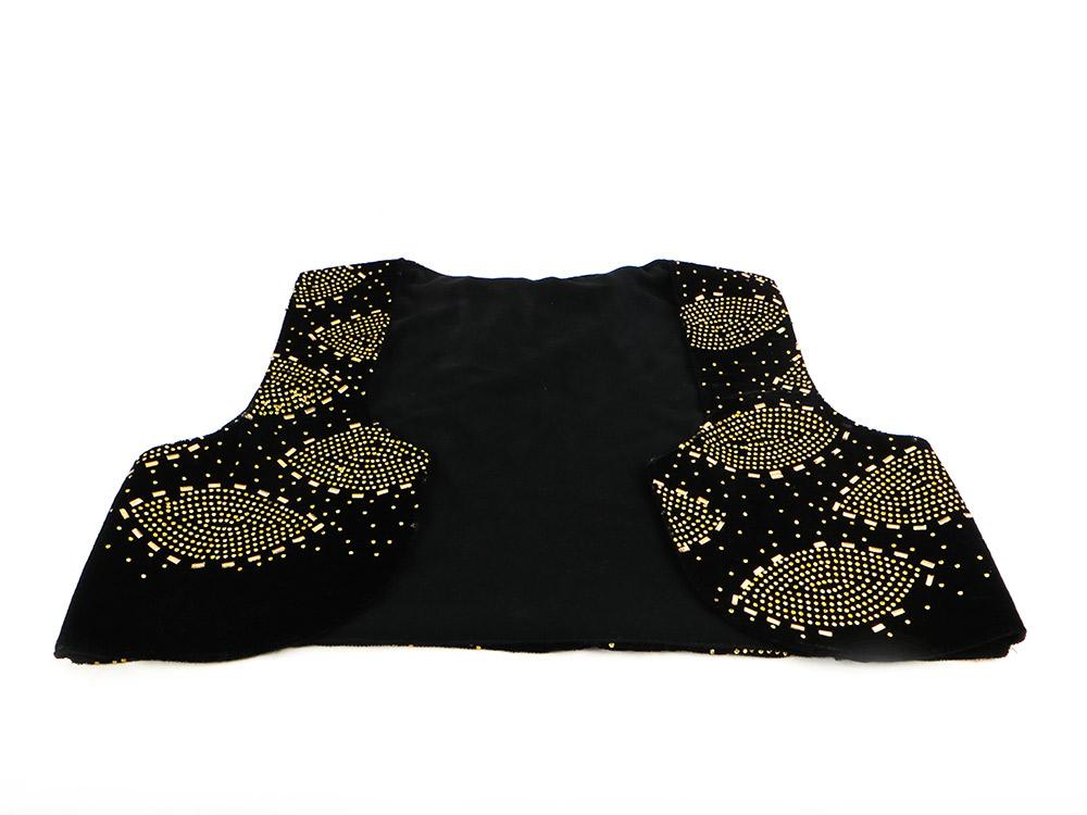 جلیقه زنانه سنتی کردستان طرح سنگ دوزی طلایی