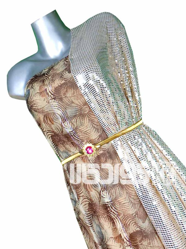 پارچه لباس زنانه حریر سیم دار قهوه ای 3.5 متری