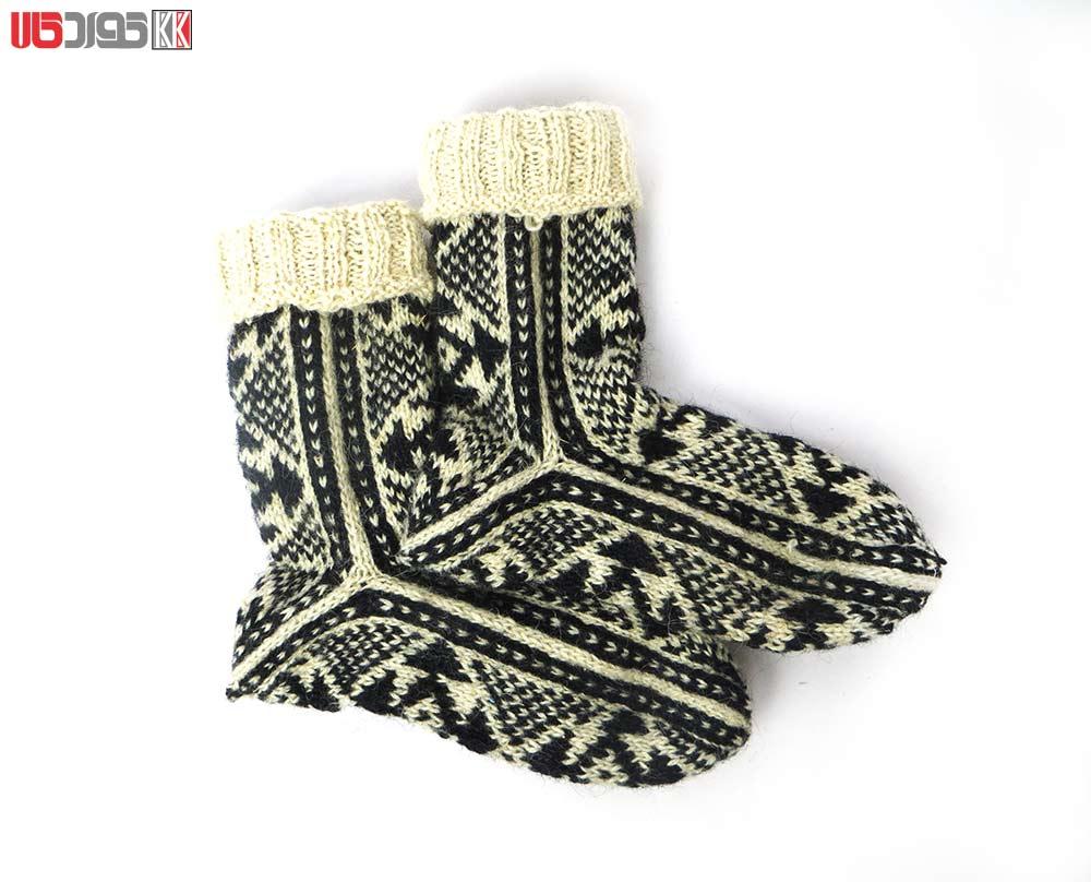 جوراب پشمی مردانه دستبافت سنتی کردستان کد 103