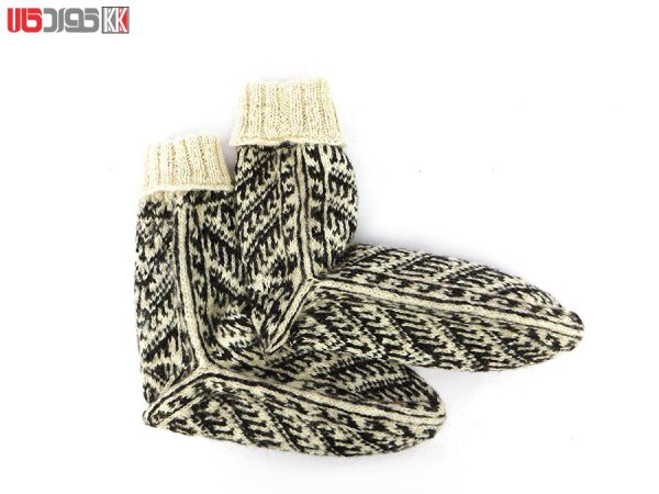 جوراب پشمی مردانه دستبافت سنتی کردستان کد 107