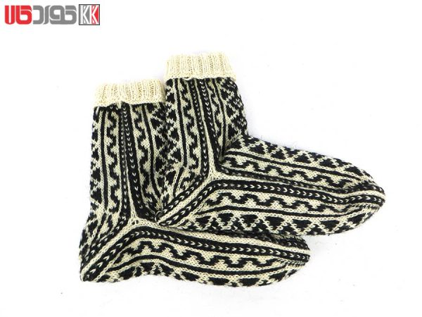 جوراب پشمی مردانه دستبافت سنتی کردستان کد 110
