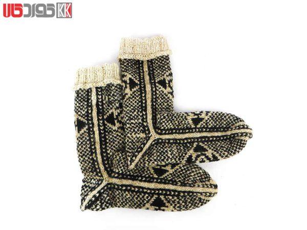 جوراب پشمی مردانه دستبافت سنتی کردستان کد 111