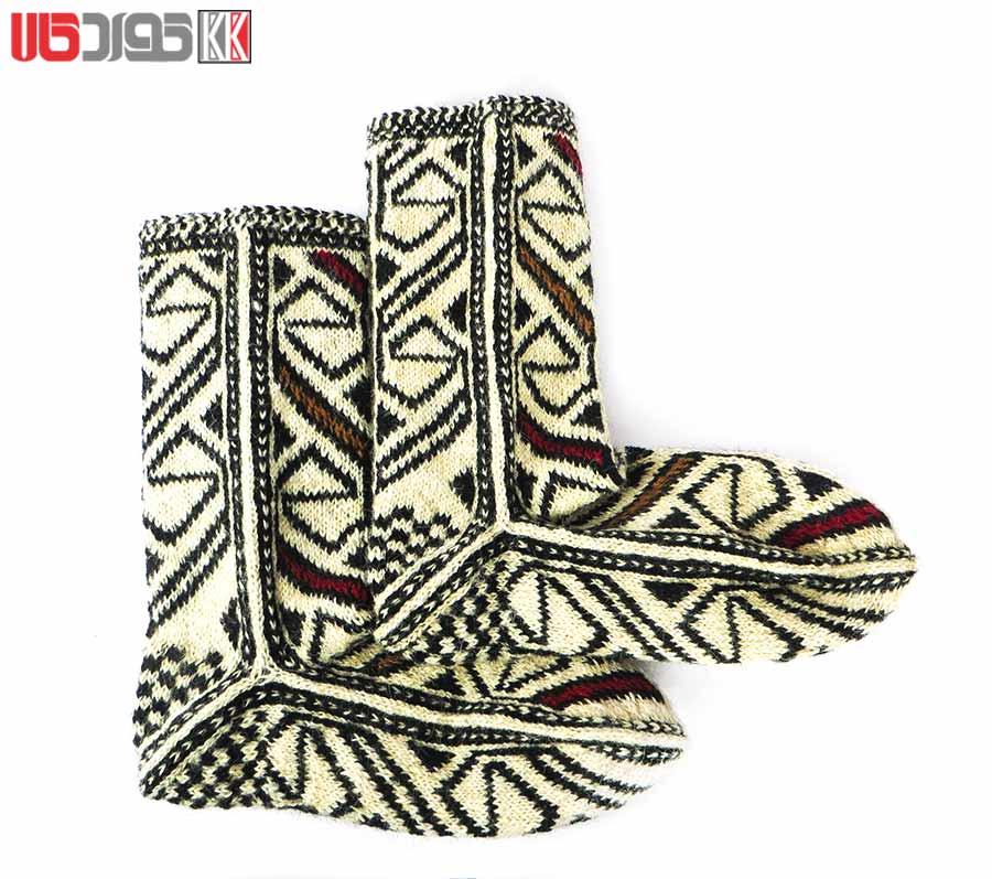 جوراب پشمی زنانه دستبافت سنتی کردستان کد 112