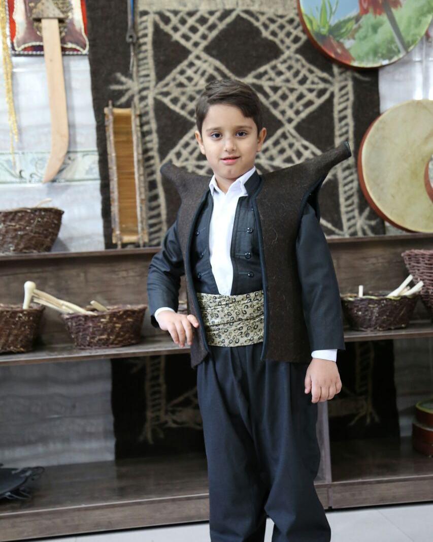 جلیقه نمدی کردستان(فرنجی هورامان) بچه گانه قهوه ای
