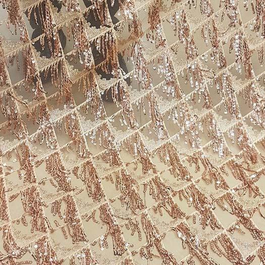 پارچه لباس کردی زنانه توری پولک ریسه ایی کد A-104