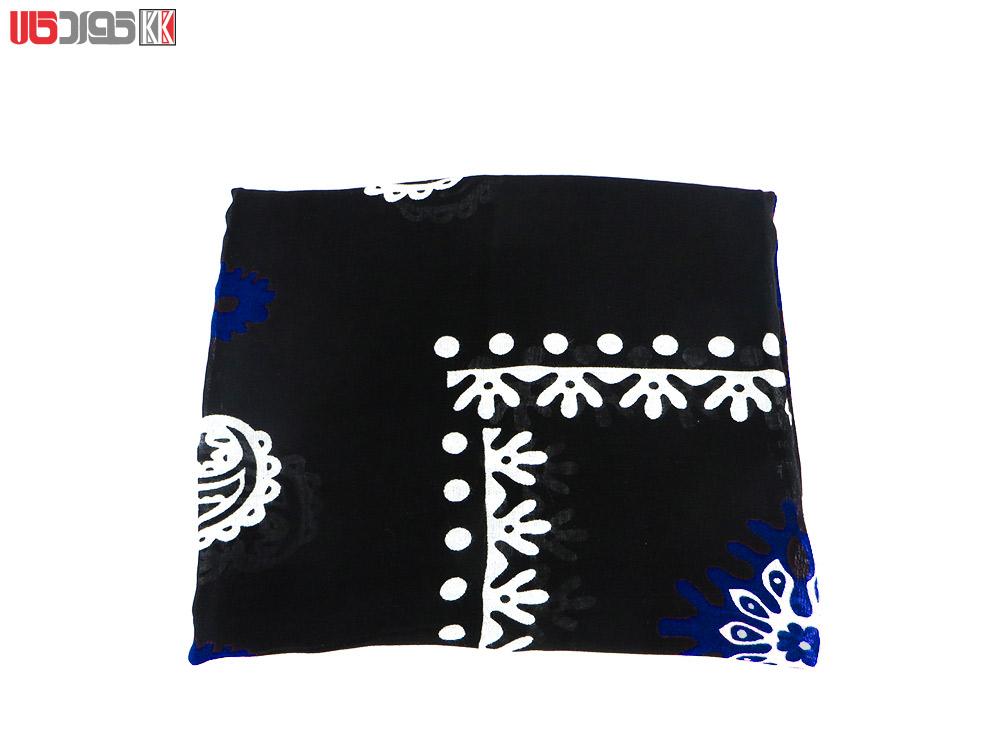 روسری سنتی کردستان طرح ترنج رنگ مشکی- آبی