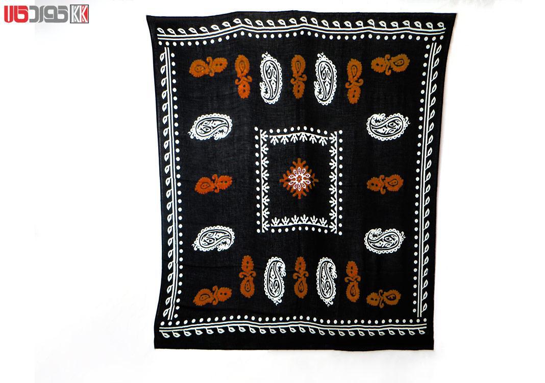 روسری سنتی کردستان طرح ترنج رنگ مشکی- نارنجی
