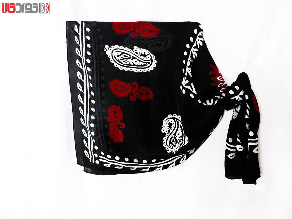 روسری سنتی کردستان طرح ترنج رنگ مشکی- قرمز