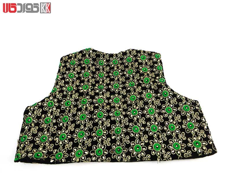 جلیقه زنانه سنتی کردستان طرح گلدوزی رنگ سبز- طلایی