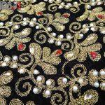 جلیقه زنانه سنتی کردستان مخمل گیپور طلایی نگین دار کد 114