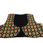جلیقه زنانه سنتی کردستان طرح گلدوزی رنگ نارنجی- طلایی