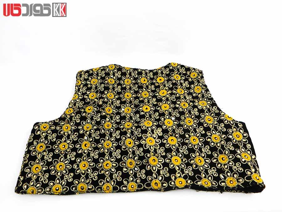 جلیقه زنانه سنتی کردستان طرح گلدوزی رنگ زرد- طلایی