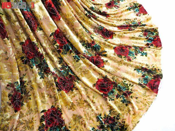 پارچه لباس زنانه مخمل کشی سنگ دار زرد 2.5 متری