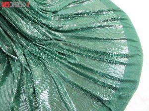 پارچه لباس زنانه لمه آینه ای رنگ سبز 2 متری