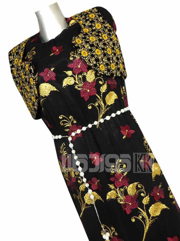 پارچه لباس زنانه حریر خاویار طرح گل 3.5 متری