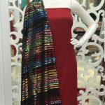 پارچه لباس کردی زنانه توری پولکی تمام دوخت کد A-105