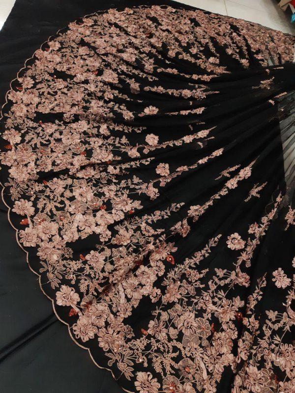 پارچه لباس کردی زنانه توری گل برجسته خامه دوزی و پولک دوزی کد A-103