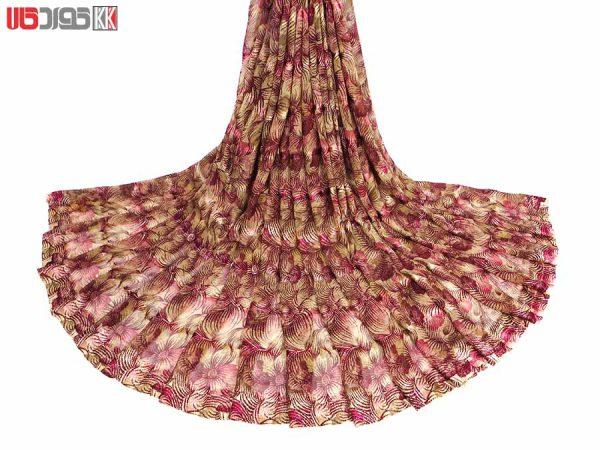 پارچه لباس زنانه حریر سیم دار سرخابی 3.5 متری