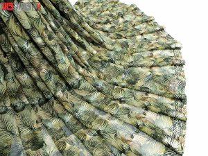 پارچه لباس زنانه حریر سیم دار سبز 3.5 متری