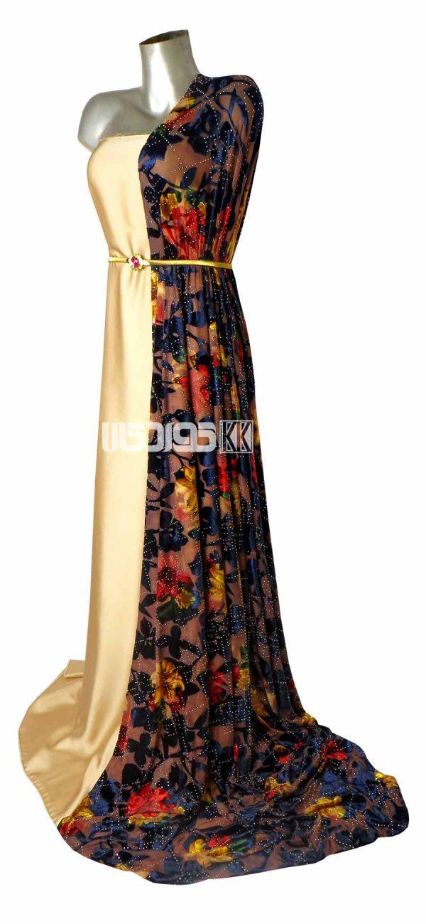 پارچه لباس زنانه مخمل سنگ دار رنگ آبی 2 متری