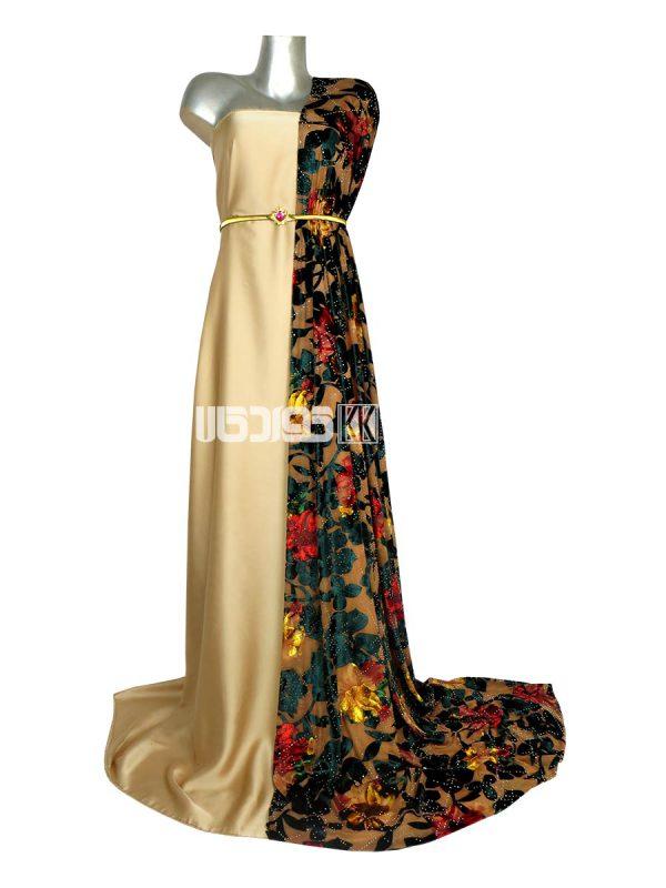 پارچه لباس زنانه مخمل سنگ دار سبز 2 متری