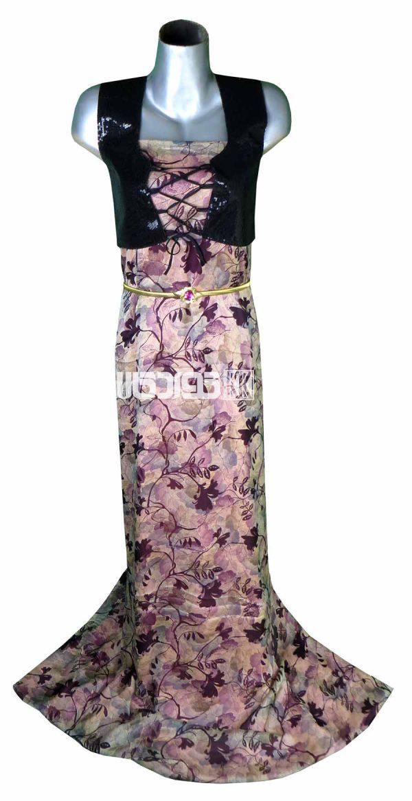 پارچه لباس زنانه حریر سیلک رنگ بنفش 3.5 متری