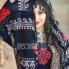 روسری سنتی کردستان منگوله مشکی قرمز