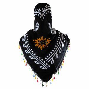 روسری سنتی منگوله دار کردستان مشکی- نارنجی 1.35 متری