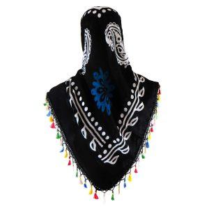 روسری سنتی منگوله دار کردستان مشکی- آبی 1.5 متری