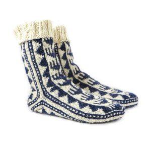 جوراب پشمی مردانه دستبافت سنتی کردستان کد 128