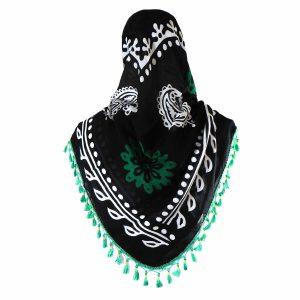 روسری سنتی کردستان زمینه مشکی منگوله دار سبز 1.35 متری