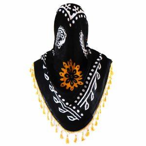 روسری سنتی کردستان رنگ نارنجی منگوله ی نارنجی 1.35 متری