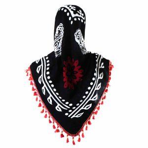 روسری سنتی کردستان رنگ قرمز منگوله ی قرمز 1.35 متری