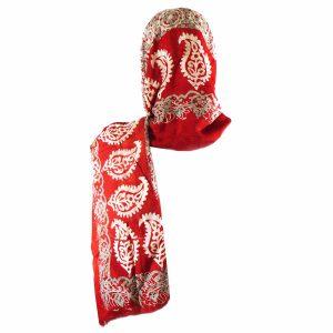 روسری شالی سنتی کردستان طرح ترنج رنگ نارنجی