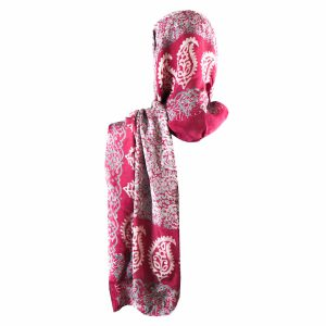 روسری شالی سنتی کردستان طرح ترنج رنگ سرخابی