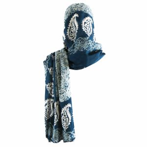 روسری شالی سنتی کردستان طرح ترنج رنگ سبز آبی