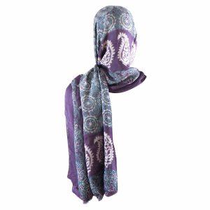 روسری شالی سنتی کردستان طرح ترنج رنگ بنفش