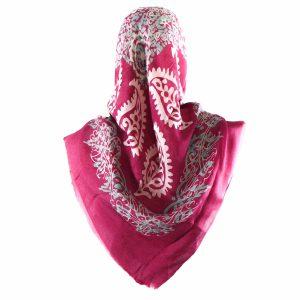 روسری سنتی کردستان طرح ترنج رنگ سرخابی