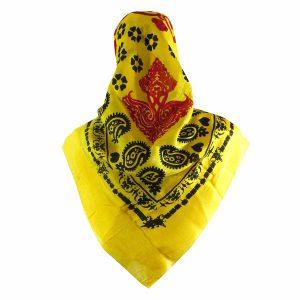 روسری سنتی کردستان طرح ترنج رنگ زرد