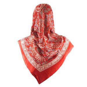 روسری سنتی کردستان طرح ترنج رنگ قرمز نارنجی