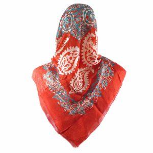 روسری سنتی کردستان طرح ترنج رنگ نارنجی